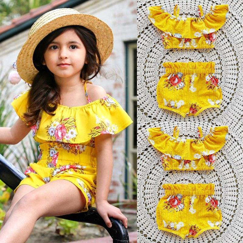 Kleinkind Baby Kinder Mädchen Royal Floral Gurt Tops Shorts Sommer Outfits Set Kleidung