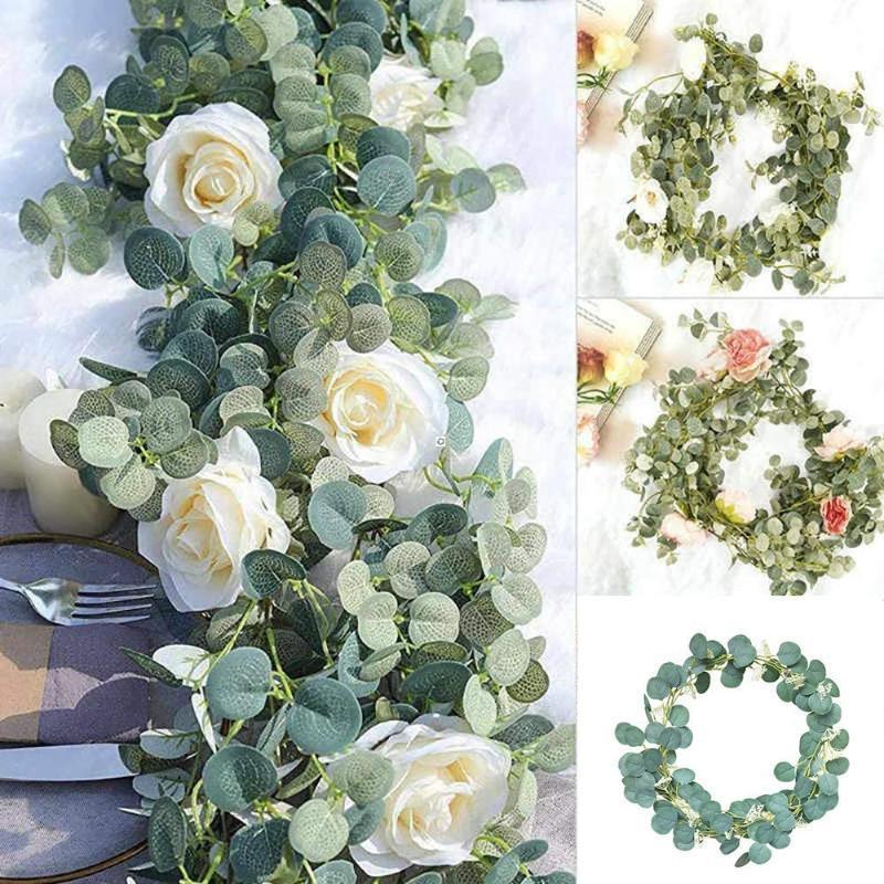 Künstliche grüne Eukalyptus-Girlande Blätter mit rosafarbener Blume für Hochzeitshintergrund Wanddekor
