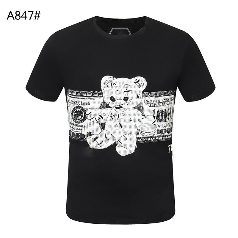 Kafatası Doları Moda Erkekler T-shirt Yüksek Kalite Yaz Temel Katı Kristal Baskı Mektup Rahat Punk Tee Kadınlar Giyim Kısa Kollu M-3XL Tops
