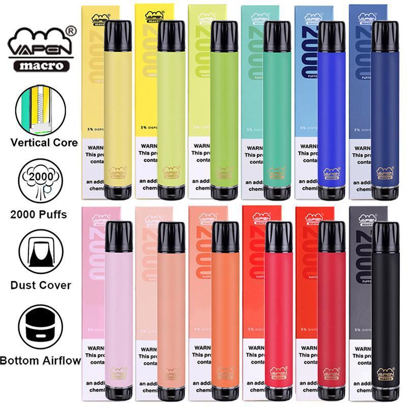 100 % 원래 Vapen 매크로 2000 퍼프 일회용 vape 펜 수직 코일 6ml 프리 퀼트 포드 기화기 장치 키트 DHL 무료