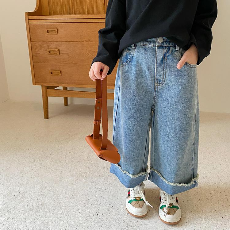 AMBB Korean INS Newest Spring Summer Kids Girls Jeans Loose Trousers Quality Elastic Waist Autumn Children Unisex Pants