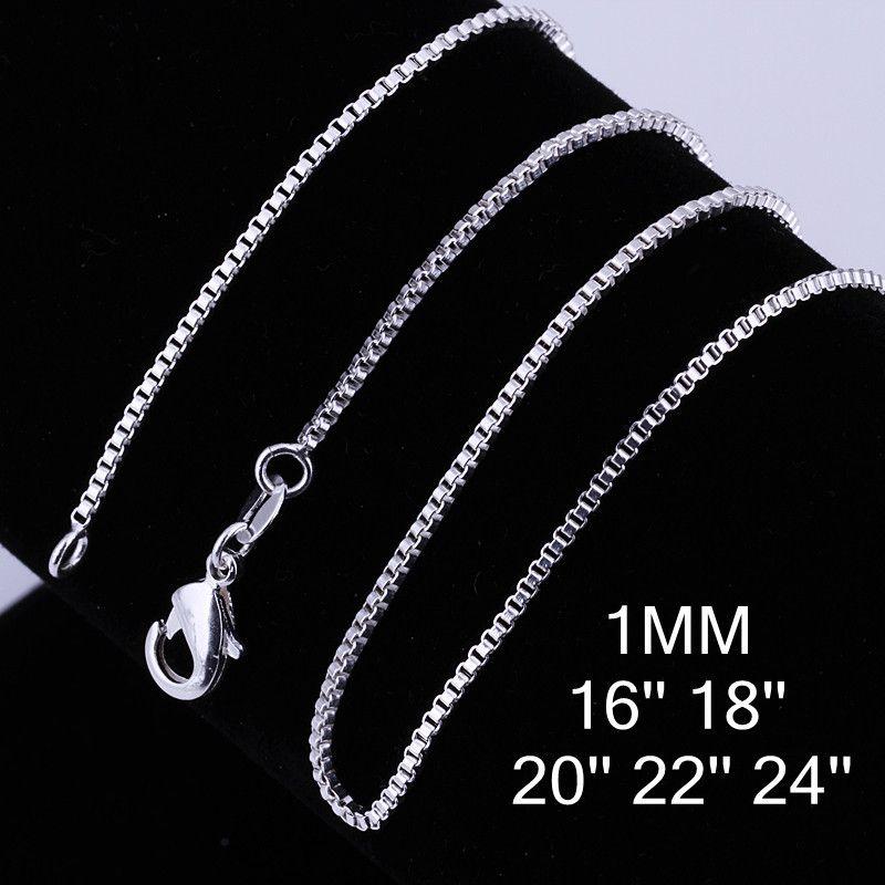 Moda jóias de prata cadeia 925 Colar de caixa para mulheres 1mm 16 18 20 22 24 polegadas 112 T2