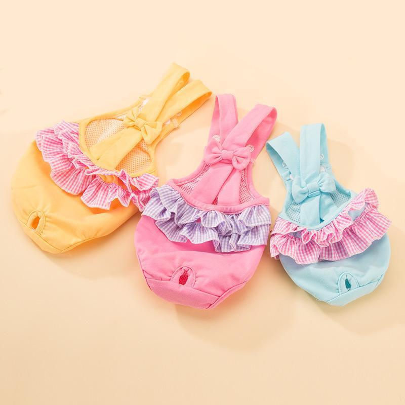 Hundebekleidung Physiologische Hosen Sicherheitshöschen Weibliche Back Bow Menstruation Teddybär Gesundheit