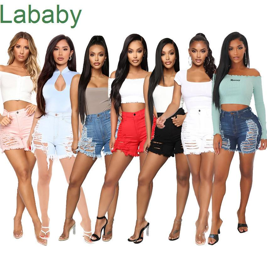 Women Jeans Sexy Cut Hollow Button Denim Shorts Slimming Shorts Casual Straight Pants Designer Summer Washed Jeans