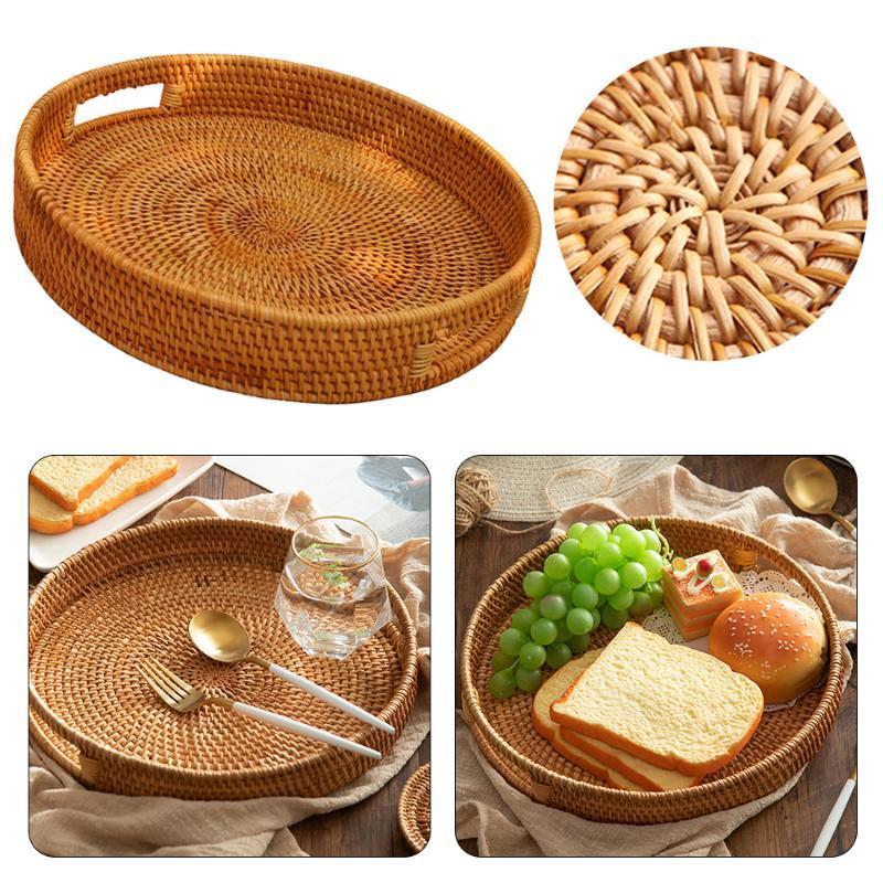 손으로 짠 스토리지 바구니 등나무 저장 트레이 고리 버들 바구니 크래커 트레이 부엌 빵 등나무 짠