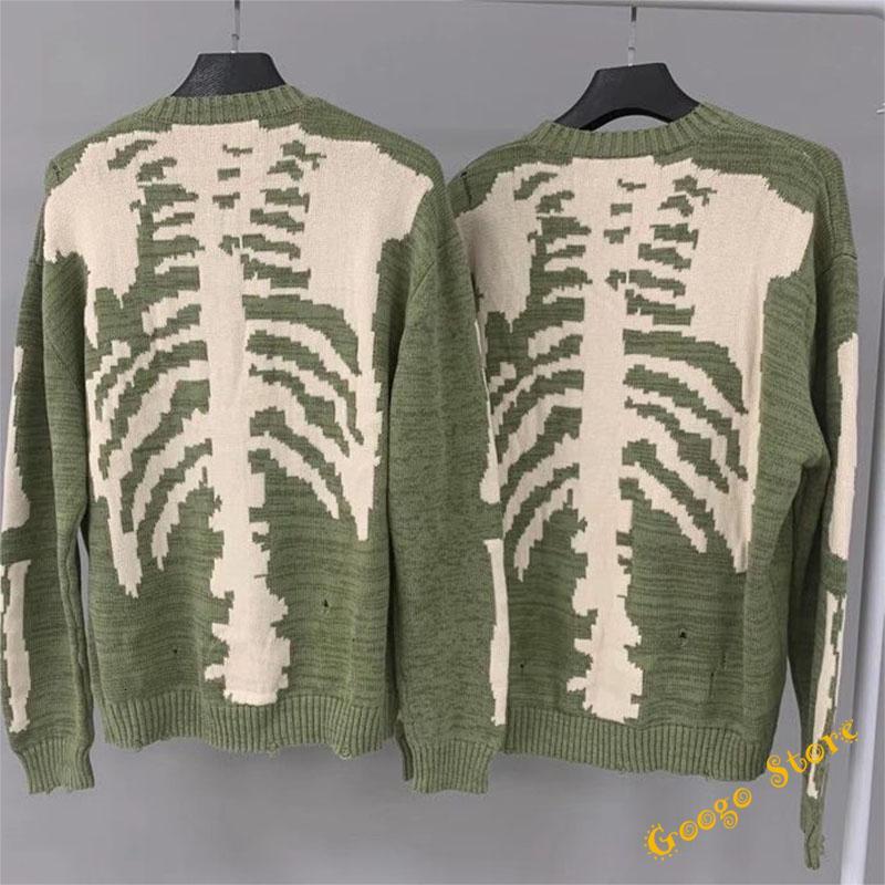 Esqueleto 2021FW Hip-Hop Ósseo de Impressão Kapital Camisola Homens Mulheres Crewneck Vintage Green Sweatshirts Damage Buraco Malha Puxe AVOC