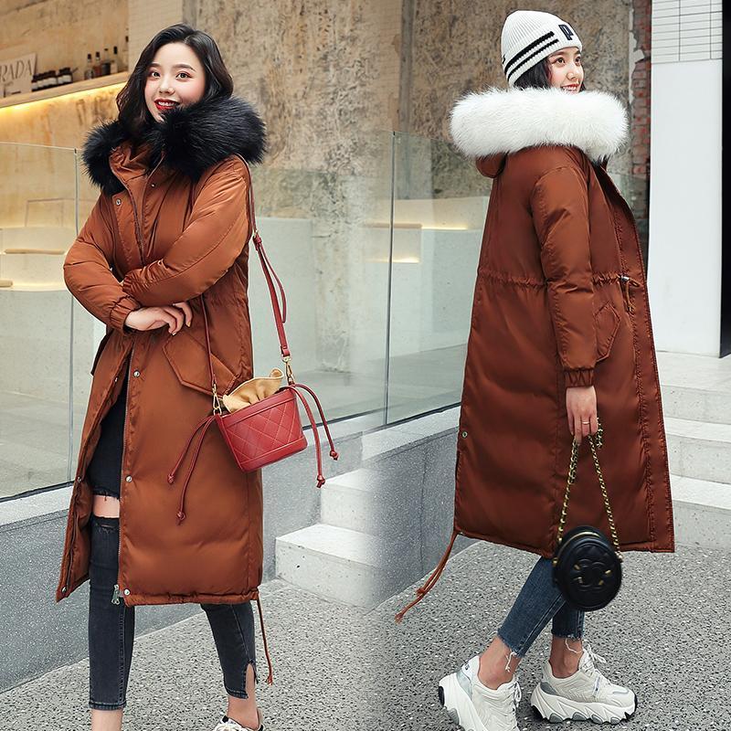 Belas mulheres jaquetas de inverno para baixo algodão casaco com capuz plus size parkas mujer casacos longo casaco de moda feminino pele colarinho casacos 3xl