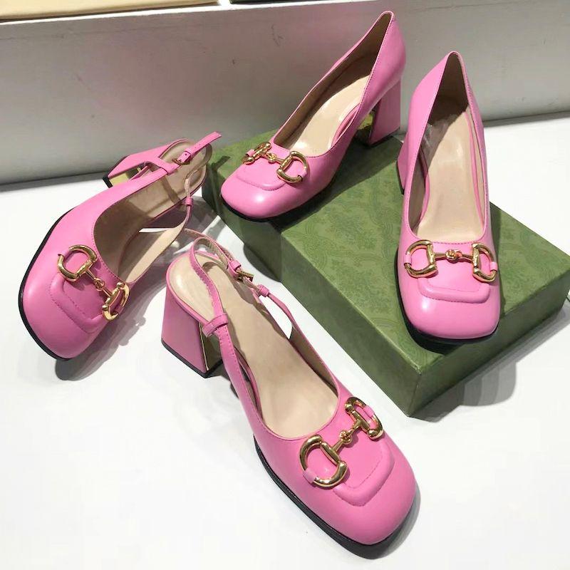 Pompe ad alti tacchi alti Top Pompe con Hirsebit 75mm Donne Sandali Designer Designer Vintage Toe Mules Pelle Sexy Dress Dress Shoes N.273