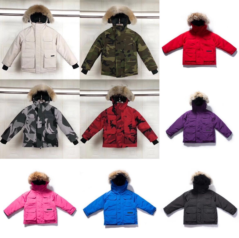 Niños abajo capa de invierno chaqueta de invierno muchacha al aire libre niña bebé ropa exterior cálido chaquetas con capucha ropa deportiva clásico parkas surcoat 10 estilos 100-150