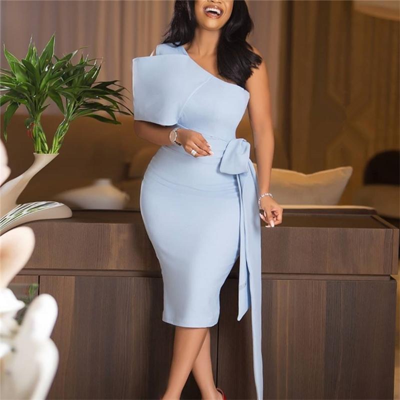 Kadın Bodycon Elbiseler Bir Omuz Papyon Bel Kemeri Ile Işık Mavi Elbise Zarif Ince Vestido Afrika Etkinlik Şurver 210303