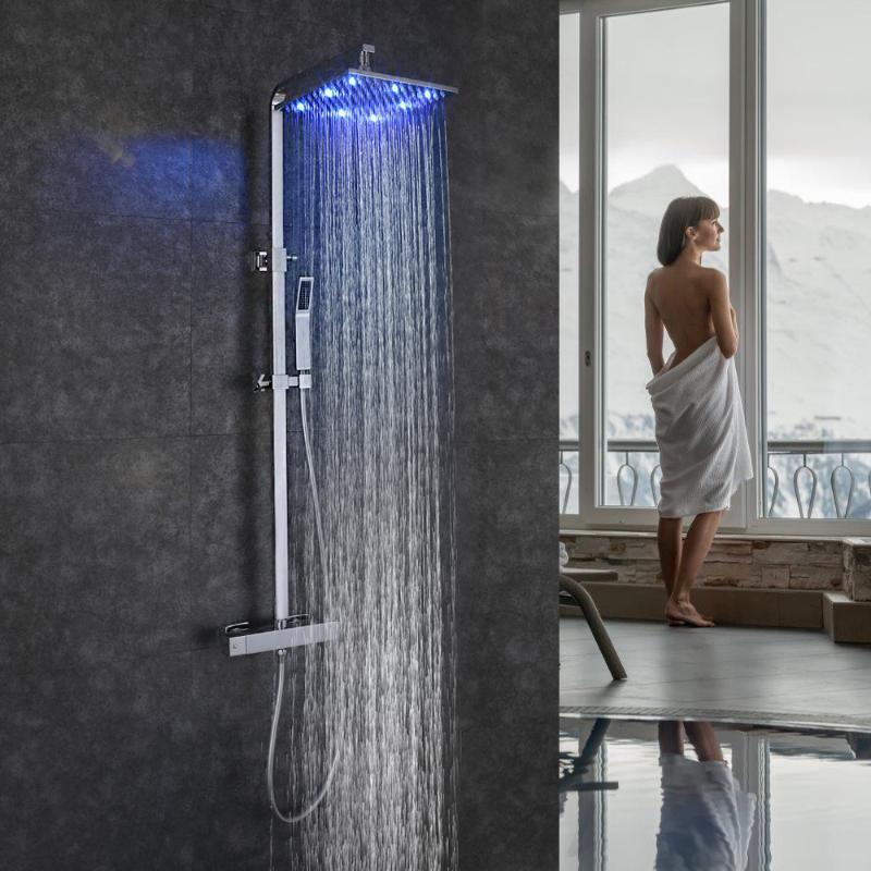 Skowll Ванная комната Душевая система Настенные Светодиодные Дождевые Душевые Набор Душевая Набор Термостат Смеситель для ванны