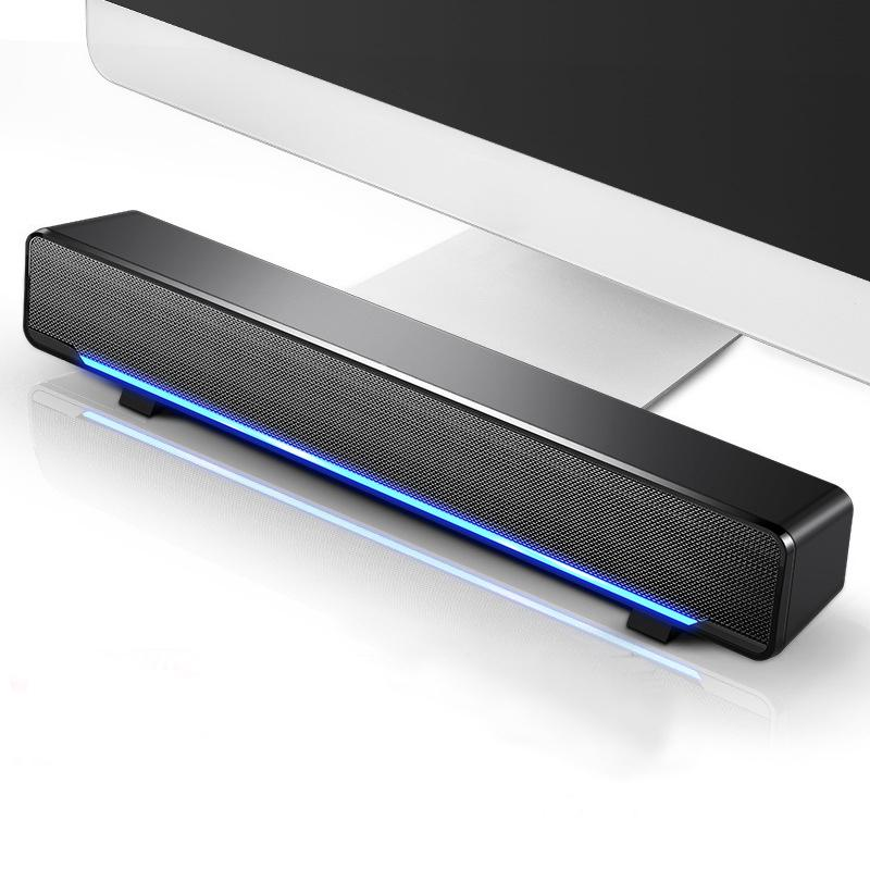 USB Wired Bluetooth Computer Computer Barra Subwoofer Bass LED LED Light Speakers Surround Sound Box para PC Laptop Phone Tablet MP3 MP4