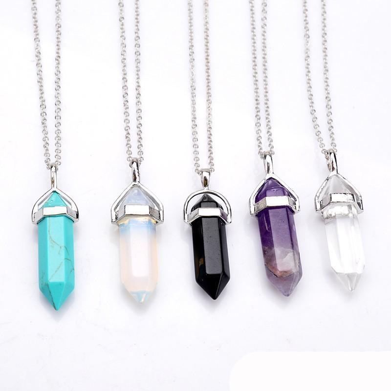 Real Amethyst Natural Crystal Quartz Healing Point Chakra Bead Gemstone Opal stone Pendant Chain Necklaces Jewelry