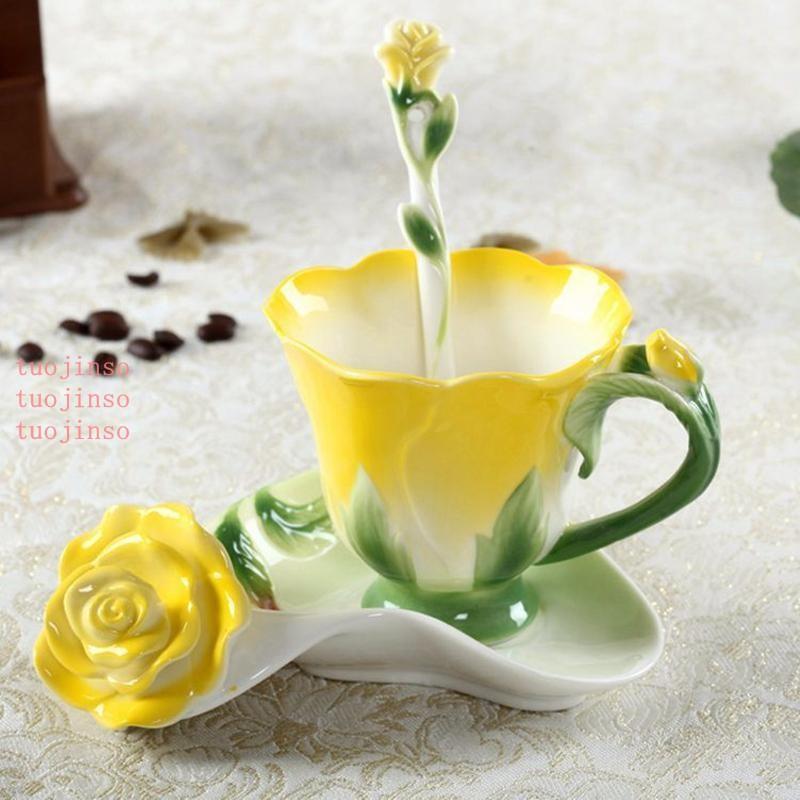 Enamel Ceramic Coffee Tea Cup Saucer Spoon 3D Rose Flower High-grade Porcelain Cup Creative Colorful Gift Design Teacup Kit VTKY2229