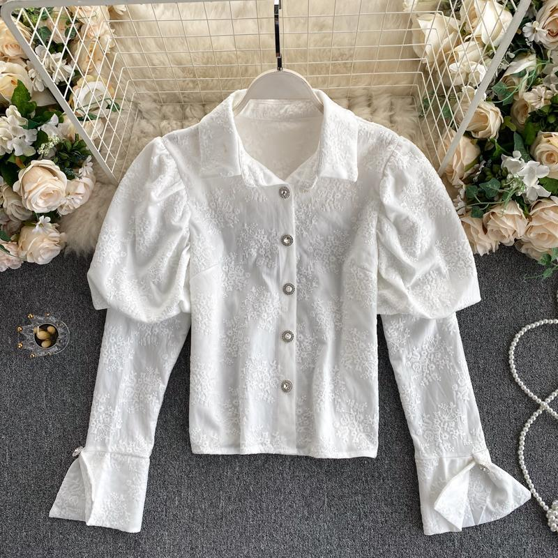 Frauen Blusen Hemden Elegante Bluse Puff Langarm Blumenstickerei Hemd Umdrehen Kragen Button up casual damen koreanische stil top