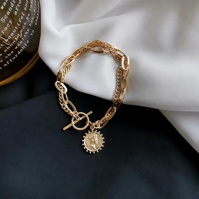 Link, Kette Luokey Gold Farbe Armbänder für Frauen Vintage Runde Münze OT Schnalle Porträt Armreifen Statement Schmuck Accessorios Mujer