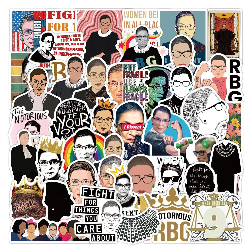 50pcs/Lot RBG Ruth Bader Ginsburg Stickers Waterproof Vinyl Decals for Water Bottles Laptop Scrapbook Luggage Bumper Skateboard Bike