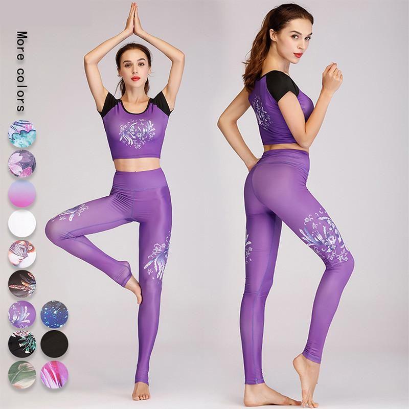 Yoga terno senhoras sportswear alta elasticidade + calças de cintura alta ginásio ginásio fitness sportswear rodando roupas