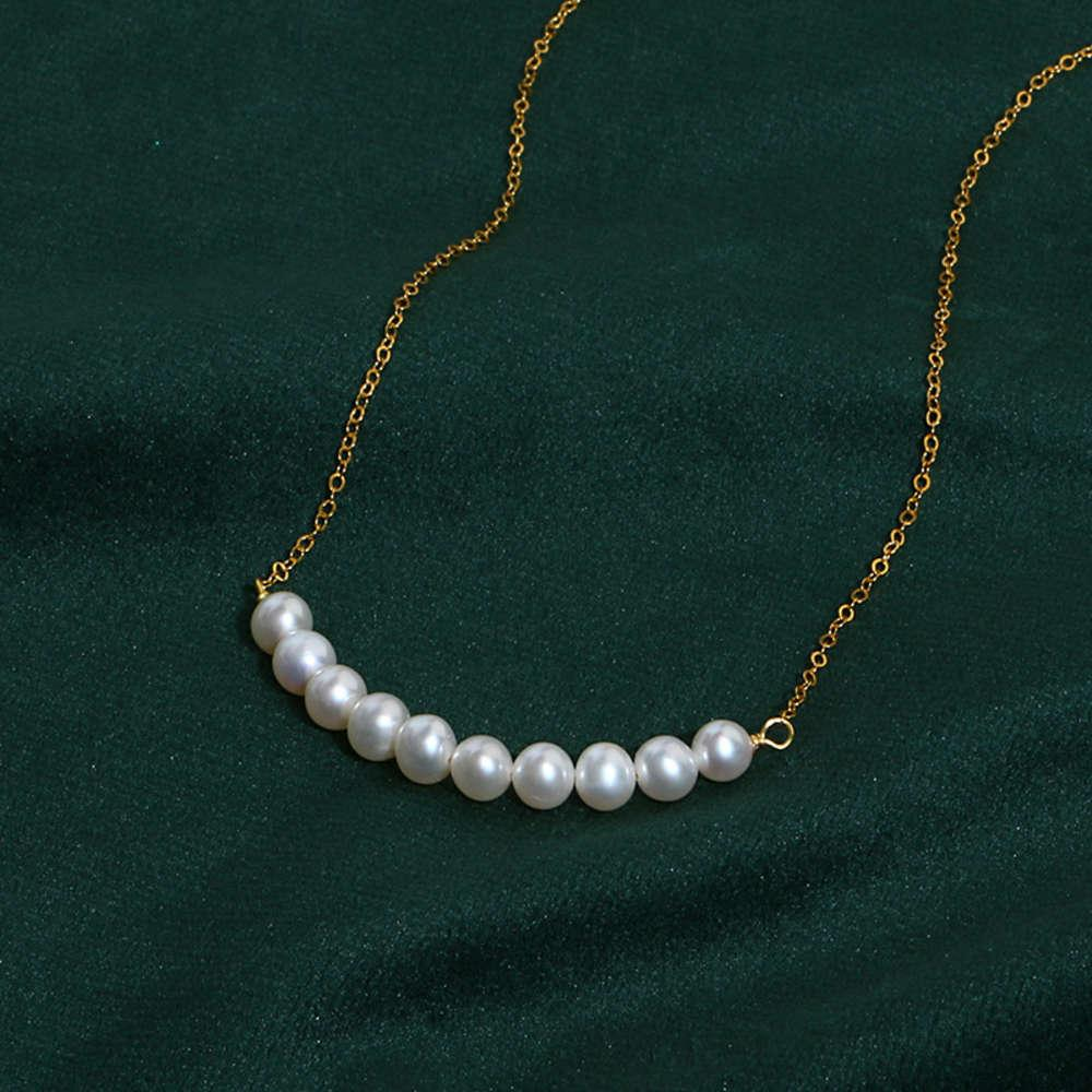 Simple Danshui pearl smile PEARL NECKLACE 14K American Gold Pendant Necklace