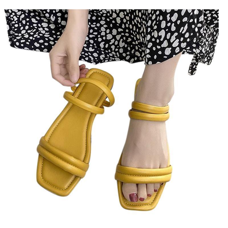 Sandálias de couro PU feminina moda cor sólida plana de pé aberto sapato verão casual chinelos ao ar livre confortável pu sapatos # lr3