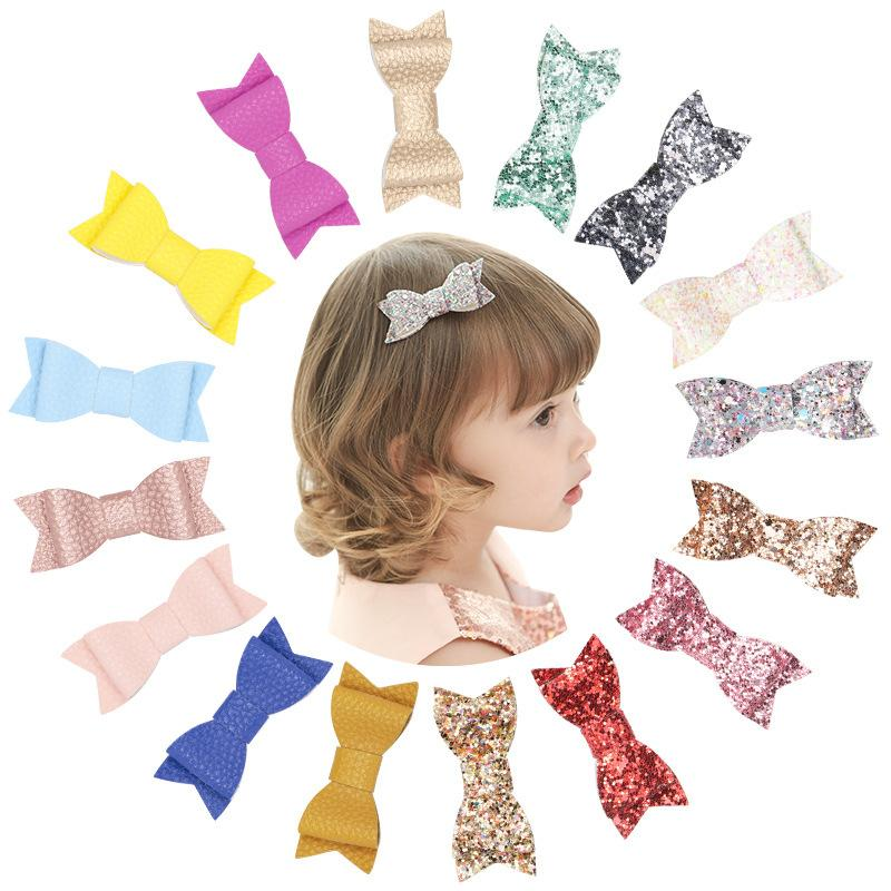 Baby Girls Barrettes hairpins gold powder Hair Bow Barrette Kids Paillette Hairpin Clips Clip With whole wrapped Boutique Bows Hair Accessories KFJ211