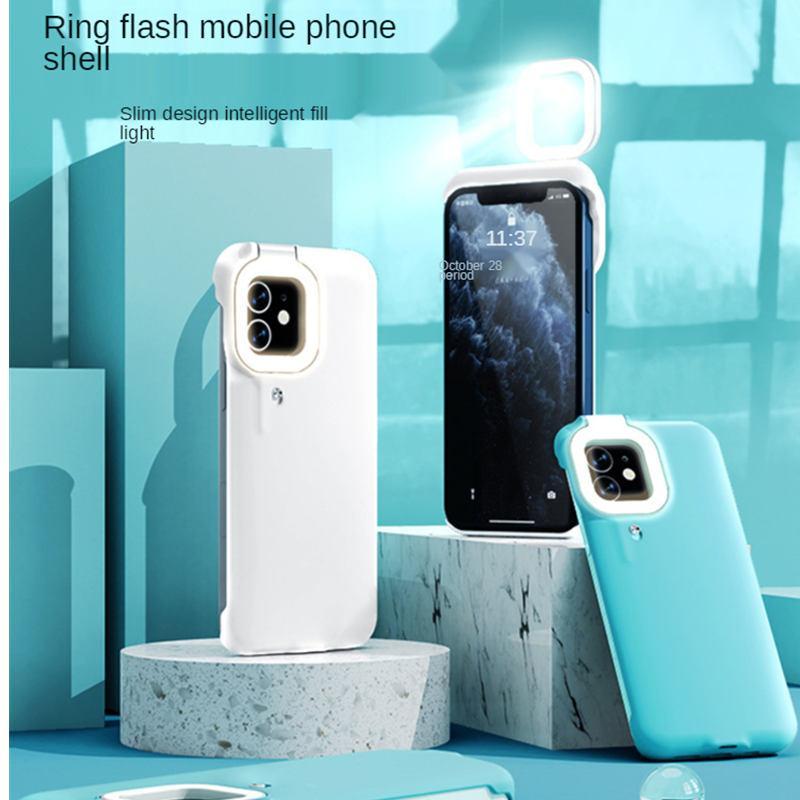 iPhone 12 Pro 11 Ring Light Flash Phone Case Fill Light Selfie Beauty Ringlight Capa 안정 손전등 쉘 iPhone 11 12 Pro Max