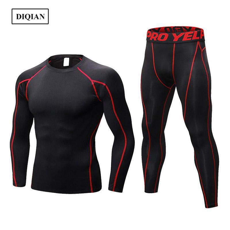 Diqian 2018 fitness esporte conjunto homens cor sólida macho apertado esporte terno 9 cores funcionar conjuntos ginásio longa manga t-shirt e calça 2xl