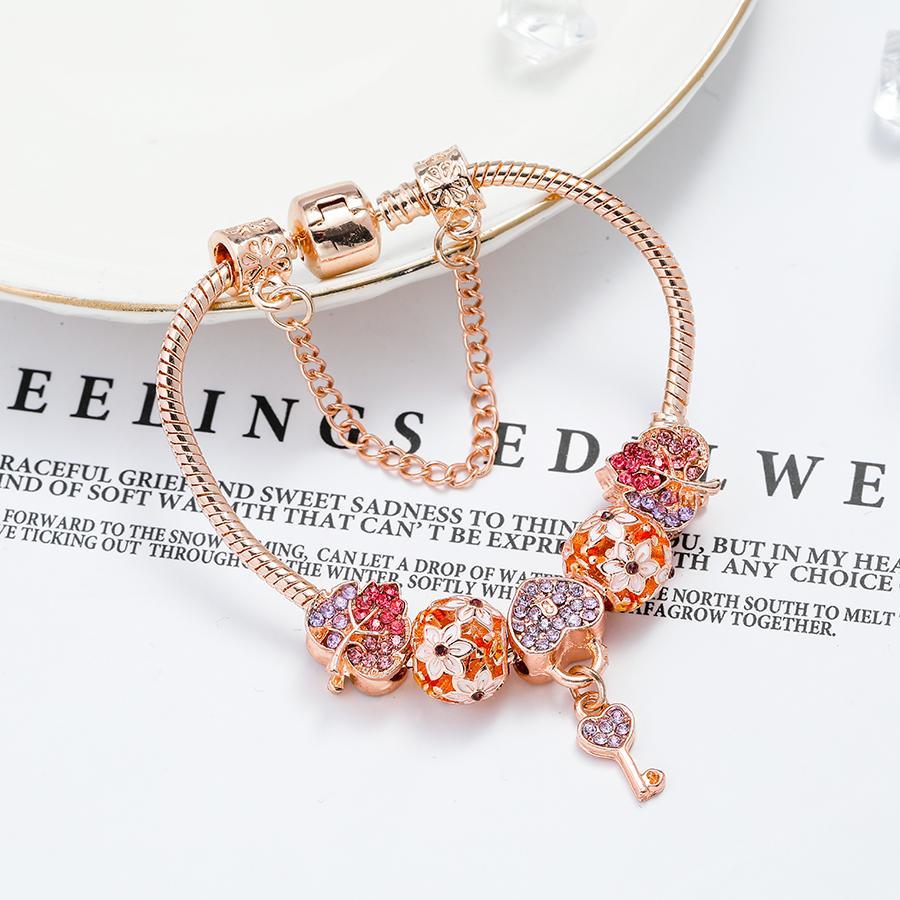 Seialoy мода розовое золото сердце ключ шарм браслеты для женщин оригинальный блестящий хрустальный лист листьев браслет из бисера девушка новый ювелирный подарок