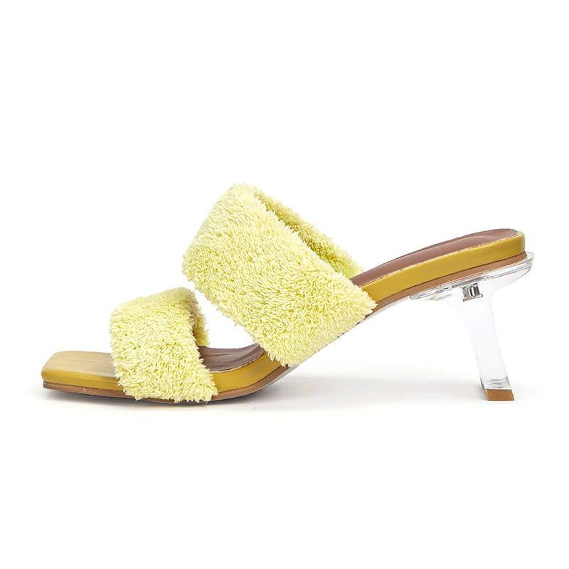 Пушистые плюшевые слингинги женщины леди летом слайды открытые пальцы прозрачные вечеринки платье сандалии дизайнеры фениминал сладкие выпускные туфли