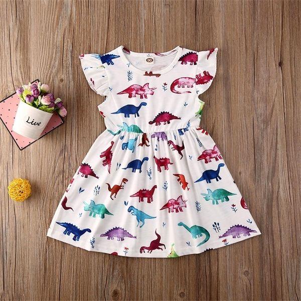 1-6Y niño niños bebé niña vestido de dibujos animados animal impresión volantes manga de la rodilla longitud A-line Vestido trajes de verano C0223