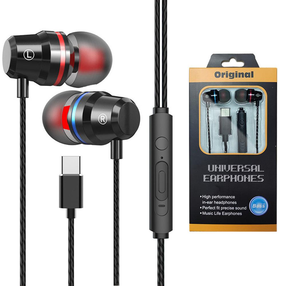 Metal Type C In Ear Earphone Wired Headphone Stereo Bass TYPE-C Headset With Microphone for Huawei Xiaomi Oneplus