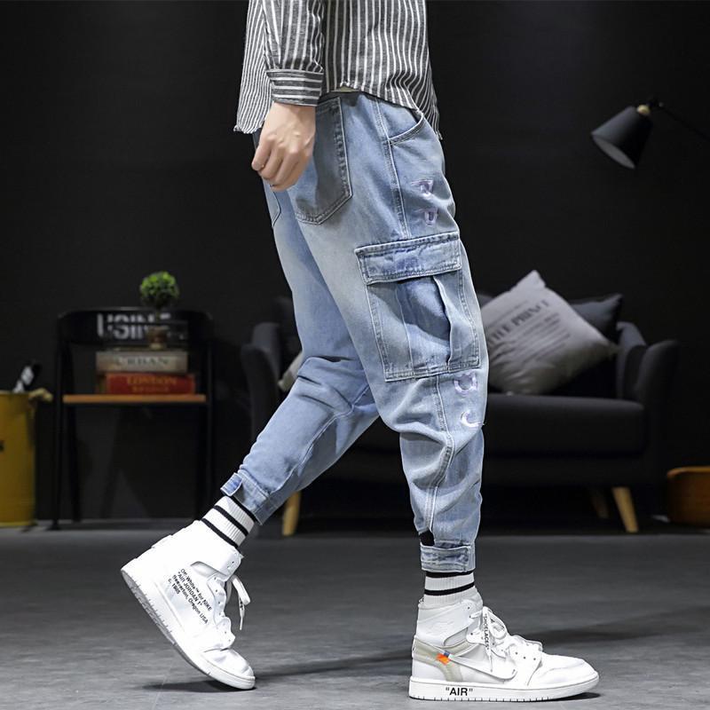 Erkek Kot Bahar Sonbahar 2021 Japon Rahat Takım Pantolon Moda Trendy Gevşek Ayak Bileği Harem Uzunluğu