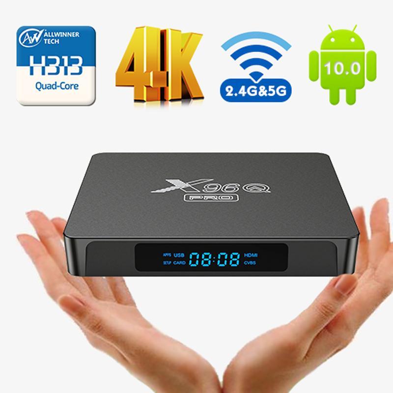 X96Q Pro Smart TV Box Android 10.0 Allwinner H313 Quad Core Box 4K UHD HDR 2.4G 5G WIFI Set-haut BOESX