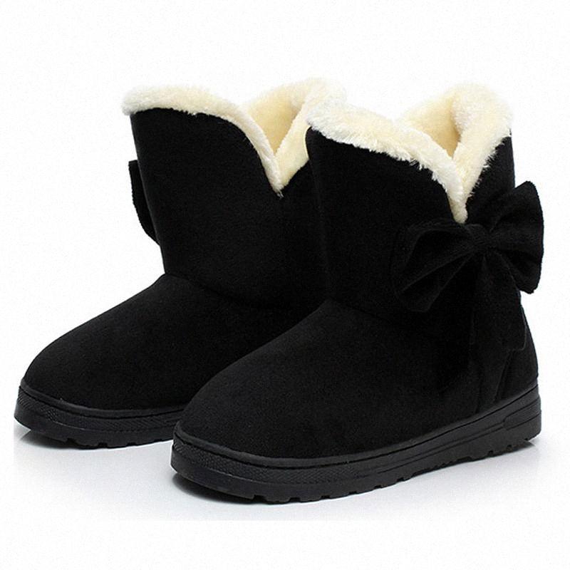 Women Snow Boots Winter Female Ankle Warmer Plush Bowtie Fur Suede Rubber Flat Slip On Fashion Platform Ladies Shoes p98i#