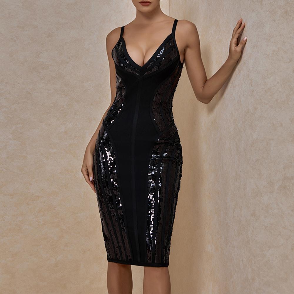 Vestido de vendaje con lentejuelas Ocshade Nuevas mujeres Sexy profundamente cuello en V cuello negro vendaje vestido bodycon spaghetti correa club vestido de fiesta 210304