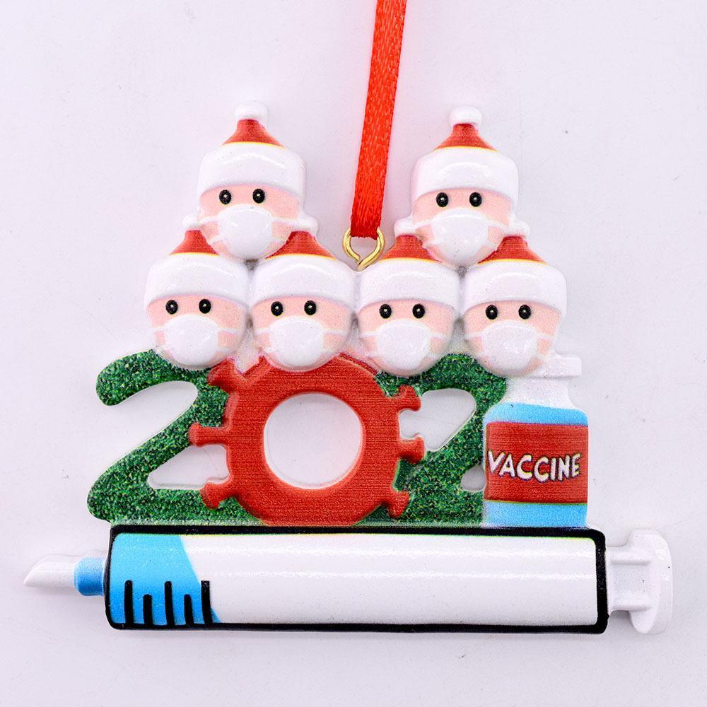 2021 Quarentena Decoração de Natal Plástico Personalizado DIY Pendurado Ornamento com Corda Papai Noel Pingente Social Distanciando Party FY4660