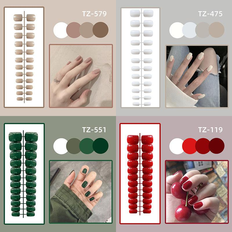 Stylist Diy Hand Decorated Nail Short Square Head Bright Face Nail Patch Fake Finished Product 24 Pieces Wear Enhancement
