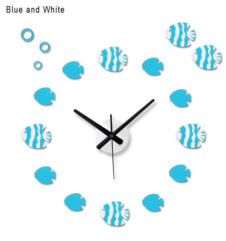 Nova Chegada 12 Design De Peixe Colorido EVA EVA 50CM-90CM relógio de parede grande decorativo 3D DIY relógio de parede muito grande