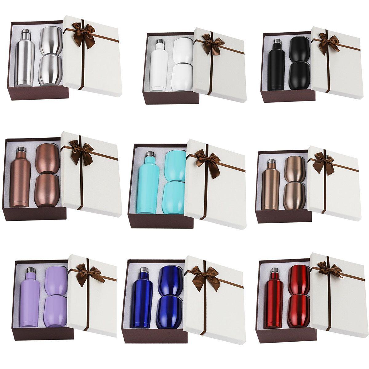 3pcs / set regalo del bicchiere del bicchiere da regalo set doppia parete in acciaio inox isolato con una bottiglia da 500 ml DUE 12OZ VINO Tumbler