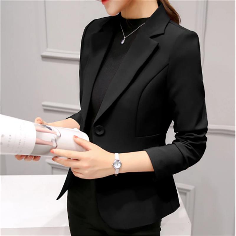 Women's Suits & Blazers Black Women Blazer Nice Formal Lady Office Work Suit Pockets Jackets Coat Slim Femme
