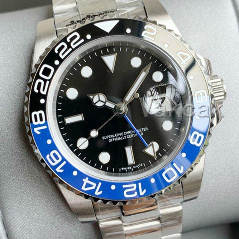 Top GMT 세라믹 베젤 망 시계 기계적 스테인레스 스틸 자동 2813 무브먼트 시계 스포츠 배트맨 손목 시계 패션 디자이너들 Luxurys 손목 시계