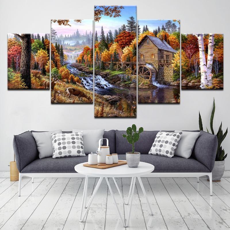 Piccolo villaggio nella foresta Paesaggio 5 pezzi Sfondi Art Canvas Stampa Poster moderno Poster modulare Art Painting Home Decor