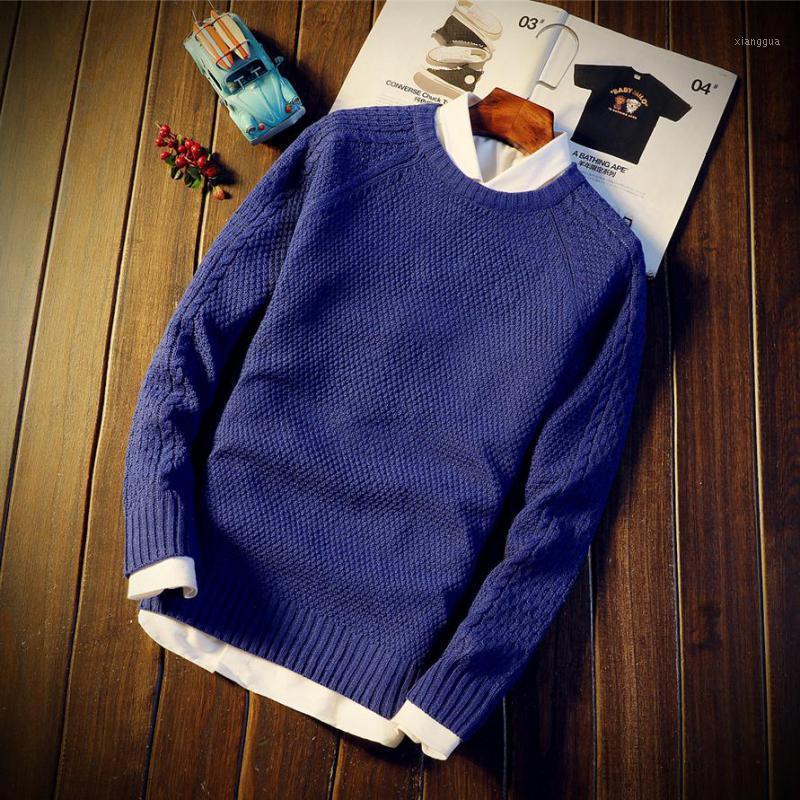2019 мужской свитер пуловеры O шеи хлопчатобумажный вязаный свитер пальто зима повседневная с длинным рукавом свитера Homme вязание твердых верхних вершин1