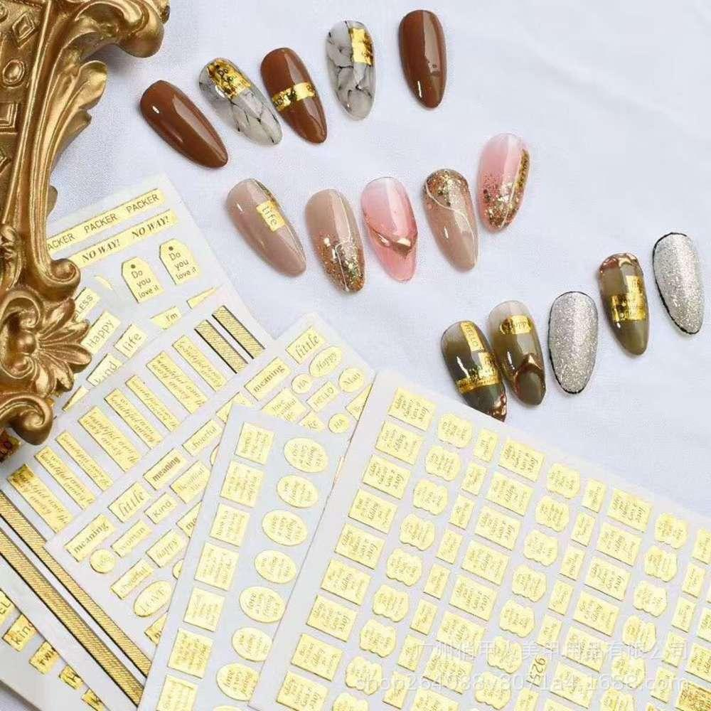 Heißer Verkauf Maniküre Laser Vergoldung Englisch Brief Aufkleber Gold Namensschild mit Rückenkleber Maniküre Zubehör