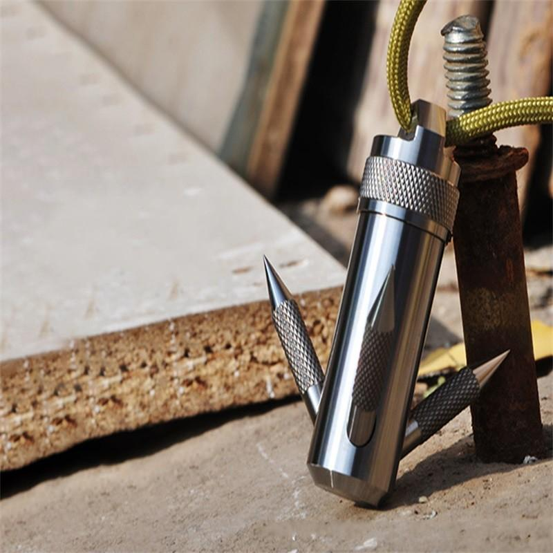 Titaner Titanium TI EDC Survival Kit de supervivencia Impermeable Almacenamiento Cápsula Píldora Caja Contenedor YT40 Grappling Hook Camping 351 x2