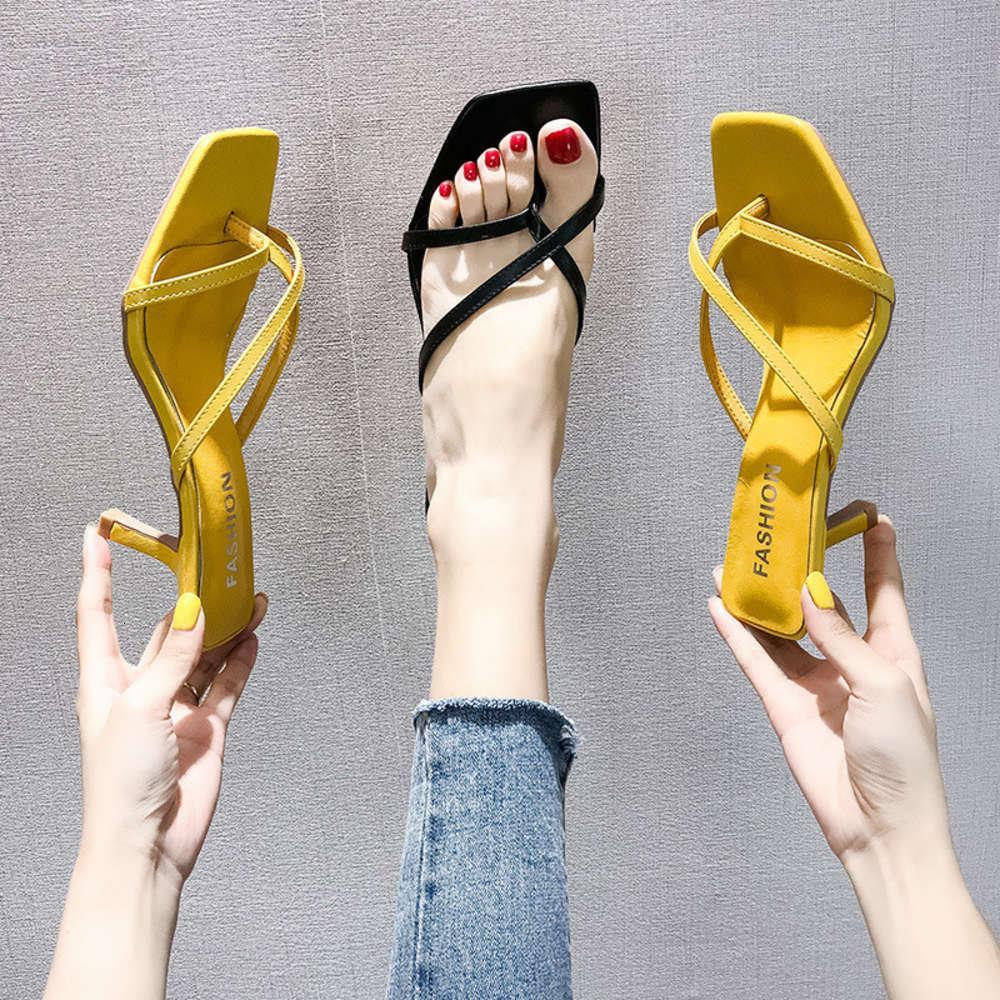 Yüksek İnce Terlik 2020 Kore Büyük Toe Orta Topuklu Sandalet Kadın Yaz Giyim