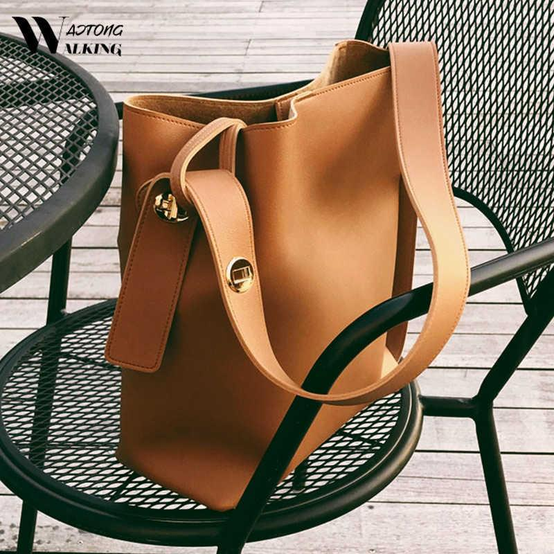 Women Fashion Bucket Bag Women's Simple Style PU Leather Shoulder Bag Handbags Female Casual Black/brown Color Bags Large Totes Y0728