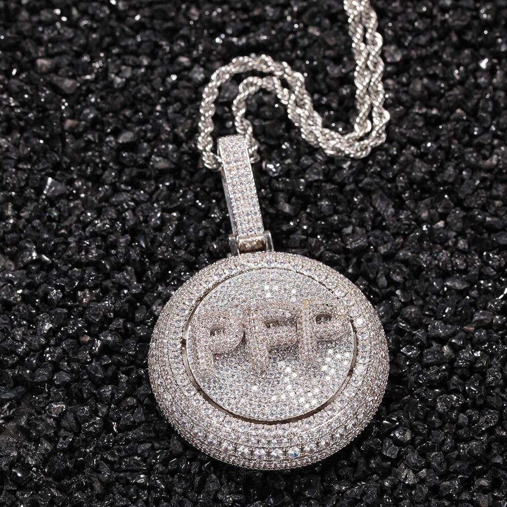 A-Z пользовательские названия буквы золотые ожерелья Мужская мода хип-хоп ювелирные изделия из-за вращающегося письма кулон ожерелье