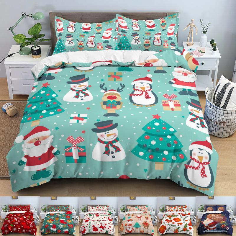 Bedding Sets Christmas Set 3D Santa Claus Elk Duvet Cover Polyester Comforter Home Textiles Double Bed Duvets Kids