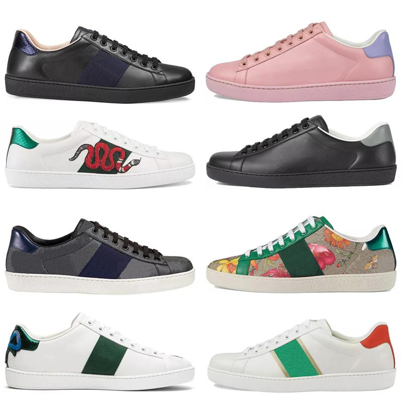 Hommes Femmes Sneaker Sneaker Chaussures Casual Top Qualité Snake Chaussures Cuir Snewners Ace Bee Broderie Broderie Stripes Chaussures Sports Formateurs T D0SJ #